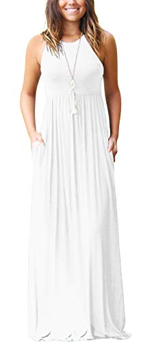 GRECERELLE Women's Sleeveless Racerback Loose Plain Maxi Dresses Casual Long Dresses with Pockets White-XS