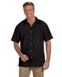 (Harriton M560 Men's Barbados Textured Camp Shirt X-Large Black)