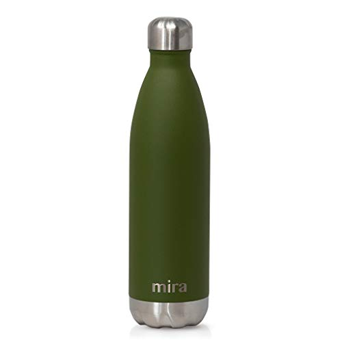 MIRA 25 oz Stainless Steel Vacuum Insulated Water Bottle | Leak-Proof Double Walled Cola Shape Bottle | Keeps Drinks Cold for 24 Hours & Hot for 12 Hours | Olive Green