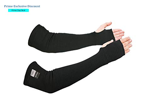 - Kevlar Arm Sleeves Cut/Heat/Scratch/Knife Resistant 18 Inches Long Elbow Safety wih Thumb Holes Welding/Gardening/Cooking Flexible, Lightweight, Washable, Reusable Pair