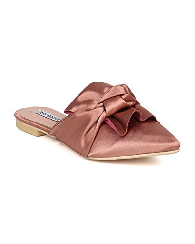 Pink Satin Shoes (Women Knotted Flat Mule - Bow Slip On Sandal - Pointy Toe Slide - HK09 By Cape Robbin - Pink Satin (Size: 10))