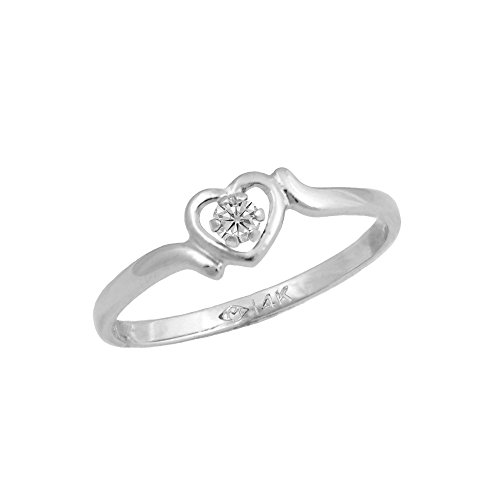 4 1/2 Girls 14K White Gold Genuine White Topaz April Birthstone Heart (14k April Birthstone Ring)
