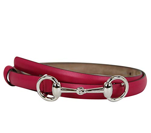 Gucci Women's Horsebit Buckle Fuchsia Leather Thin Skinny Belt 282349 5614 (100/40)