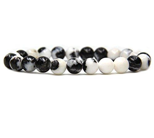 Natural Zebra Jasper Gemstone 8mm Round Beads Stretch Bracelet 7