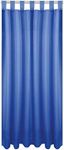 Bestlivings, tenda decorativa oscurante, con passanti, in micro raso, Tessuto, Blu Medio, 140x175cm