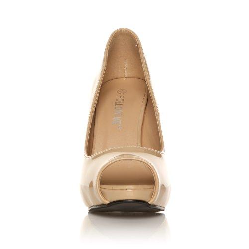 TIA - Chaussures à talons aiguilles - Plateforme - Bout ouvert - Nude - Vernis