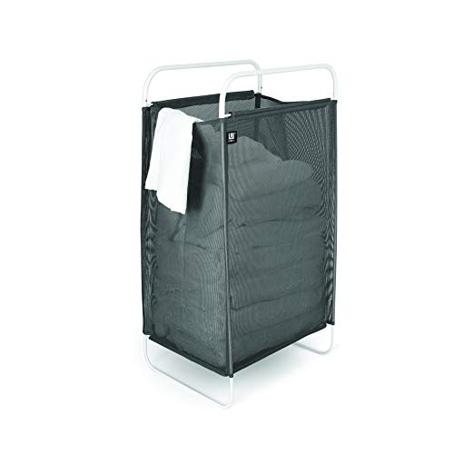 Umbra 1005298-265 Cinch Laundry Hamper with Removable Mesh Laundry Bag for Easy Cleaning and a Lightweight Flexible Frame for Easy Carrying,Gray, White
