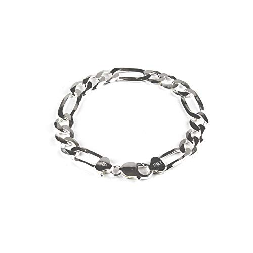 Sterling Silver 11mm Figaro Chain Bracelet for Men - 9 Inches