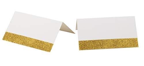 100-Pack Gold Place Cards - Gold Glitter Tented Seating Cards for Wedding, Bridal Shower, Birthday Party Supplies, Gold Shimmer Table Decoration, Folded 2 x 3.5 Inches