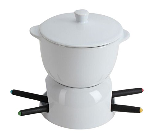 Omniware 1037704 Chocolate Fondue with Lid, White