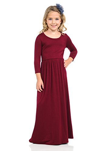 Pastel by Vivienne Honey Vanilla Girls' Fit and Flare Maxi Dress with Easy Removable Label X-Large 11-12 Years Burgundy