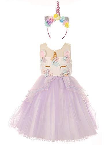 Big Girls Lilac Multi Unicorn Floral Appliques Headband Flower Girl Dress - Dresses Couture Allure Wedding