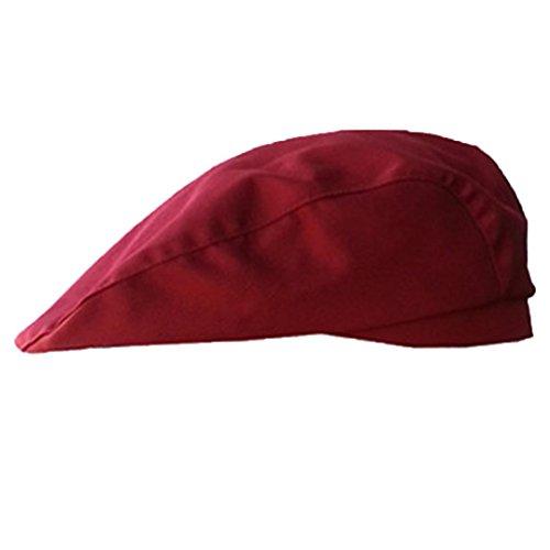 Botrong Stylish Men Women Chef Hat Catering Baker Kitchen Cook Duckbill Beret Golf Caps (Wine Red) (Cap Womens Cook)