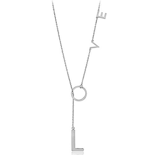 ADORNIA Love Necklace, Y Shaped Lariat, 925 Sterling Silver Necklace for Women, Silver Plated
