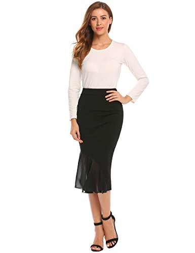 Zeagoo Women High Waist Stretch Ruffle Patchwork Fishtail Pencil Skirt, Black4, Large