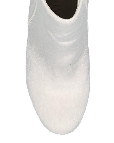 Alrisco Femmes Bout Arrondi Talon Bottillon Talon - Polyvalent Habillé À La Mode Fête Vacances Chunky Talon Bottine - He95 Par Mackin J Collection Fausse Fourrure Blanche