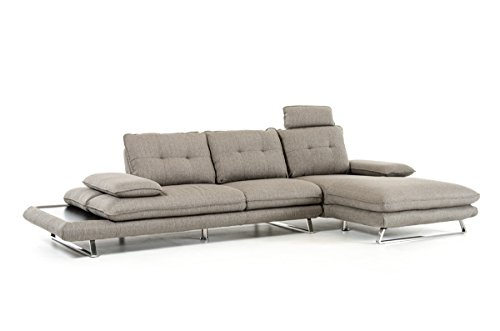 Divani Casa Porter Modern Grey Fabric Sectional Sofa Grey/Grey/Right Facing Chaise For Sale