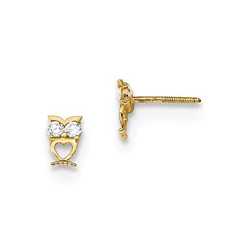 14k Yellow Gold Owl Cubic Zirconia Cz Eyes Screwback Post Stud Earrings Ball Button Animal Bird Fine Jewelry Gifts For Women For Her (Goldfish Earrings 14k Hook)
