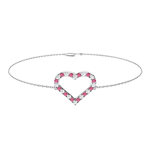 White Gold Pink Tourmaline Bracelet - Diamondere Natural and Certified Pink Tourmaline and Diamond Heart Chain Bracelet in 14K White Gold | 0.37 Carat Bracelet for Women, Length - 7.25 inch