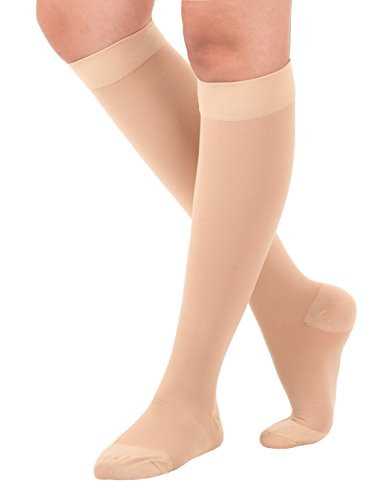 Made in USA - Opaque Compression Socks - Knee Hi length Medical Support Hose Compression Stockings 20-30 mmHg Firm Support - Closed Toe Color Beige Size Large. Support Socks for men and woman
