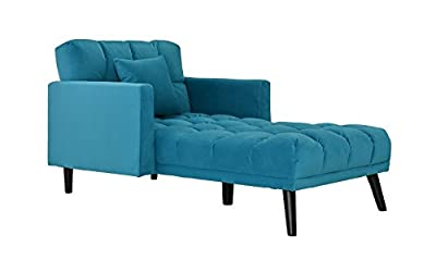 Modern Velvet Fabric Recliner Sleeper Chaise Lounge - Futon Sleeper Single Seater with Nailhead Trim