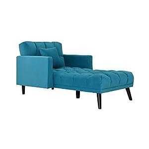 Sofamania Modern Velvet Fabric Recliner Sleeper Chaise Lounge – Futon Sleeper Single Seater with Nailhead Trim