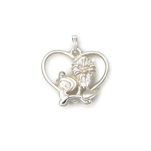 Sterling Silver Pomeranian Necklace, Silver Pomeranian Pendant fr Donna Pizarro's Animal Whimsey Collection (Pomeranian Pendant)