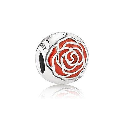 Pandora 791575EN09 Charm Disney, Belle's Enchanted Rose with Red Enamel