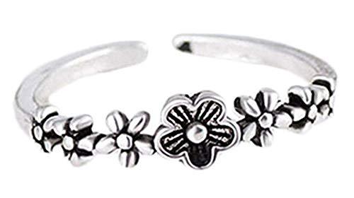 Windoson Elegant Retro Plum Blossom Crystal Diamond Open Rings Wedding Jewelry for Women-It Can Be Adjustable (Silver)