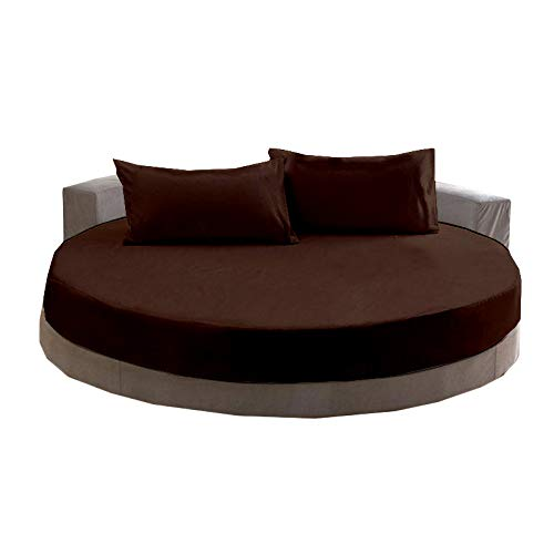 600-Thread-Count 100% Cotton Sheet Round Bed Sheets Set, 4-Piece Long-Staple Cotton Bedding Sheets for Round Bed, Fits Mattress Upto 16'' Deep Pocket (Chocolate Solid,76 Inches Diameter)