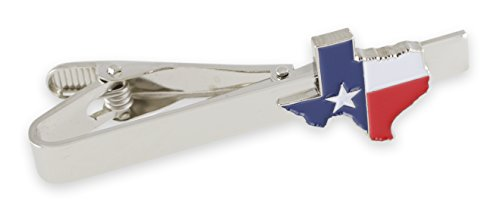 Texas Flag Lone Star Enamel Cufflinks + Tie Bar (Silver Tie Bar)