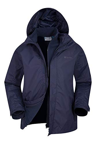 Mountain Warehouse Fell Mens 3 in 1 Water Resistant Jacket - Adjustable Hood Mens Coat, Detachable Inner Fleece Rain Jacket, Pockets -Winter Clothing for Walking, Travel