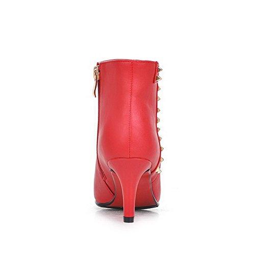 Allhqfashion Mujeres Pu Kitten-heels Botas Con Winkle Pinker Y Slipping Sole, Rojo, 32