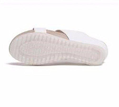 36 Pelle Estate BTBTAV Bianco 36 Pantofola Outdoor Fondo Europeo Code European Pantofole Piatto Ladies' Codice In White Con XXnxr7