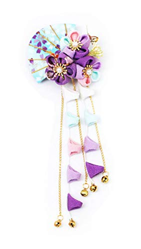 Ornaments Hair Tie - CRB Fashion Womens Girls Japanese Kimono Flower Kanzashi Hair Ornament Tie Band Clip (Blue)
