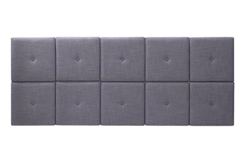 Foremost Tessa THT-61013-FB-GRY-KNG 77.5-Inch by 31-Inch Fabric with Tuft Headboard Tiles, King, Gray