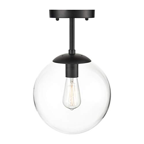 Light Society Zeno Globe Semi Flush Mount Ceiling Light, Clear Glass with Black Finish, Contemporary Mid Century Modern Style Lighting Fixture (LS-C176-BK-CL) - Small Flush Mount Finish