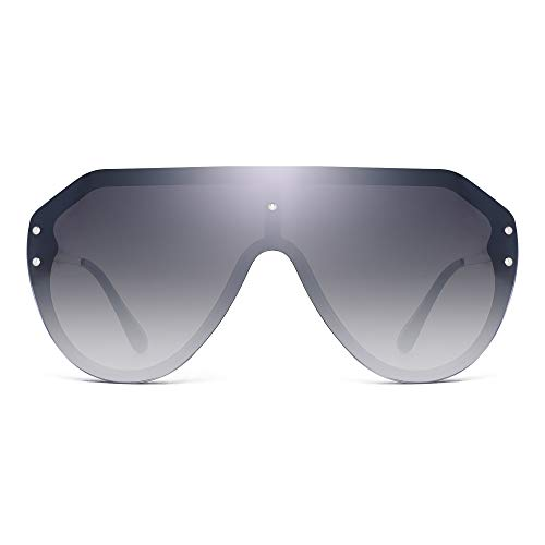 (JIM HALO Oversized Shield Sunglasses Rimless Flat Top Mirror Glasses Women Men (Black Frame/Gradient Grey Lens))