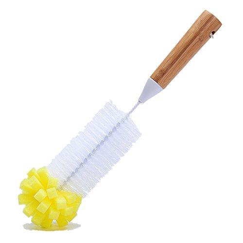 Huibot Bottle Brush Bamboo Long Handle Bristle Sponge Bottom for Narrow Neck Bottles Coffe Cups Glass and Tea Kettle