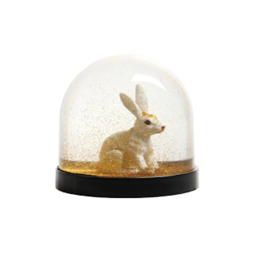 &Klevering Funny snow globe of high quality, with rabbit and golden glitter, 8 x Ø 8.5 cm