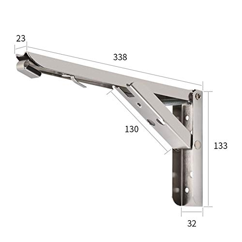 elegantstunning Stainless Steel Foldable Triangular Support Large Load Bearing Bracket Holder for Wall Storage Rack Stainless Steel -14 inch