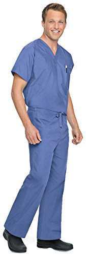 Landau Unisex-Adults Men's Reversible Drawstring Scrub Pants, Ceil Blue, - Cotton Pants Reversible Scrub