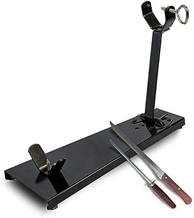 BRICOMIRAS JAMONERO Modelo Plegable Negro Ideal para EL HOGAR, Regalo Cuchillo + CHAIRA Soporte JAMONERO