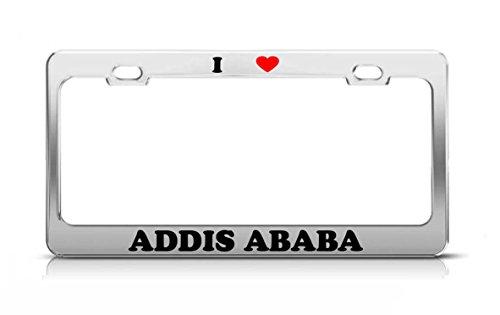 I HEART ADDIS ABABA Ethiopia Metal Auto License Plate Frame Tag Holder