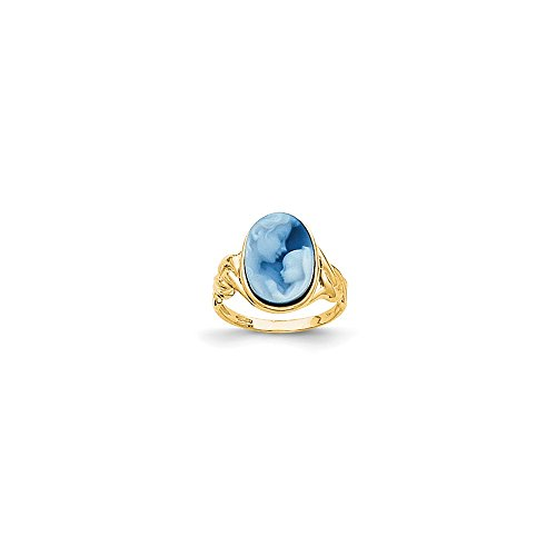 Roy Rose Jewelry 14K Heavens Gift Agate Cameo Ring - Size: 7 (14k Agate Gift Heavens)