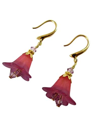 Two-Tone Red and Purple Lucite Flower Earrings with Amethyst Crystals, Gold Hypoallergenic or Nickel Free Ear Wires for Sensitive Ears, Vintage Style