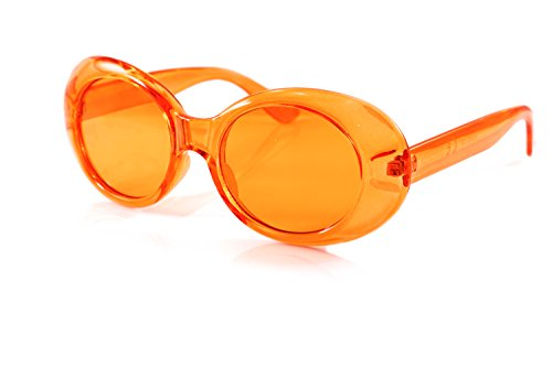FBL Womens Celebrity Retro Round Oval Pop Color Tinted Sunglasses A095 (z. Orange, - Futuristic Goggles