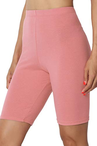 (TheMogan Women's Mid Thigh Cotton High Waist Active Short Leggings Ash Rose 2XL)