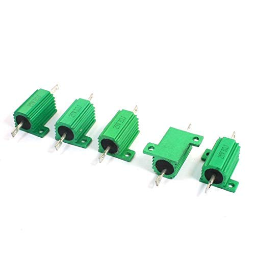 Yohii 5 Piece Green Lead Aluminum Wire Wound Heat Sink Resistors 25W 3 Ohm