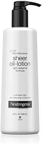 Neutrogena Moisturizing Sheer Body Oil-Lotion, Lightweight & Fast-Absorbing Sesame Oil Formula, 32 fl. oz